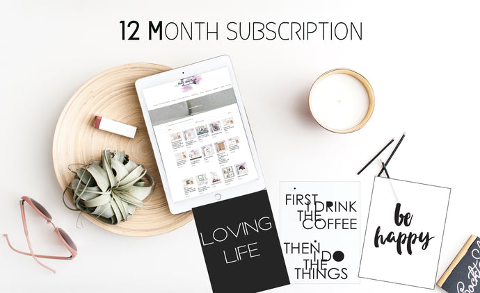 12 Months Pretty Home prints monthly suprise happy mail subscription