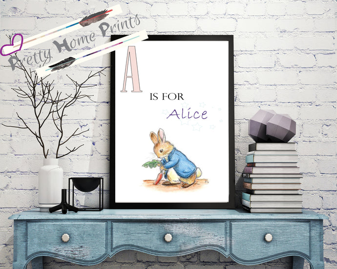 Personalised Peter rabbit Print - any colour & Name