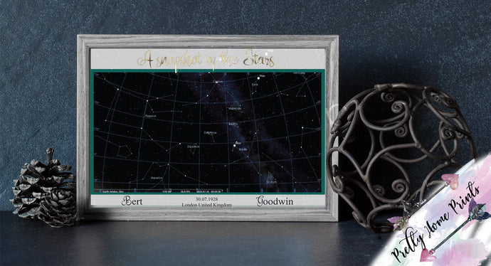 Personalised Star Map /Sky at night prints A4 Gift - Home decor