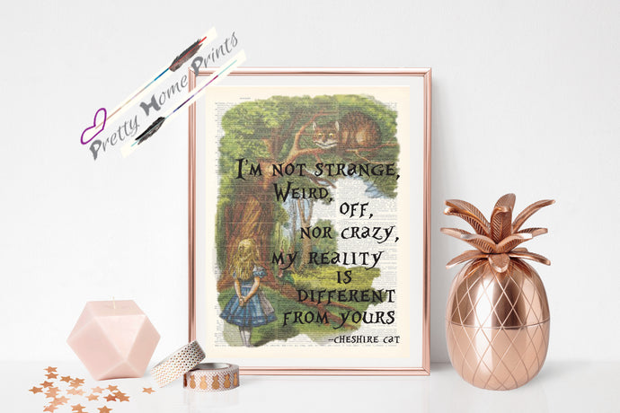 Alice in Wonderland Cheshire cat full Quote dictionary print