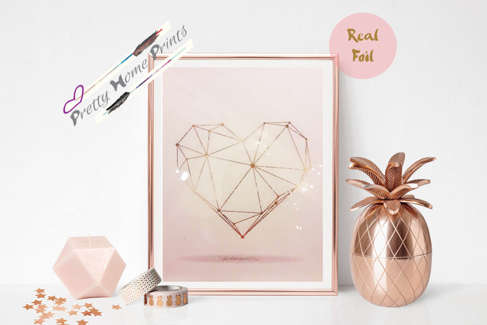 Geometric Heart Gold Foil Print Vintage Foil Rose Gold Wall Art copper Love gift