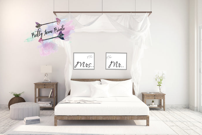 His Mrs , Her Mr bedroom set print