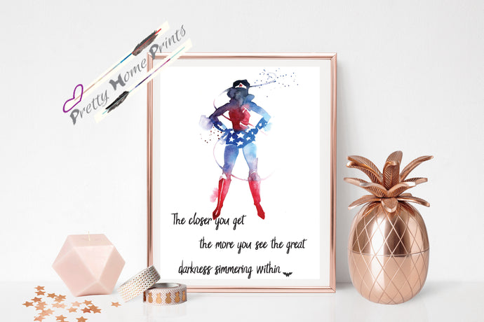Watercolour Wonderwoman Quote Print