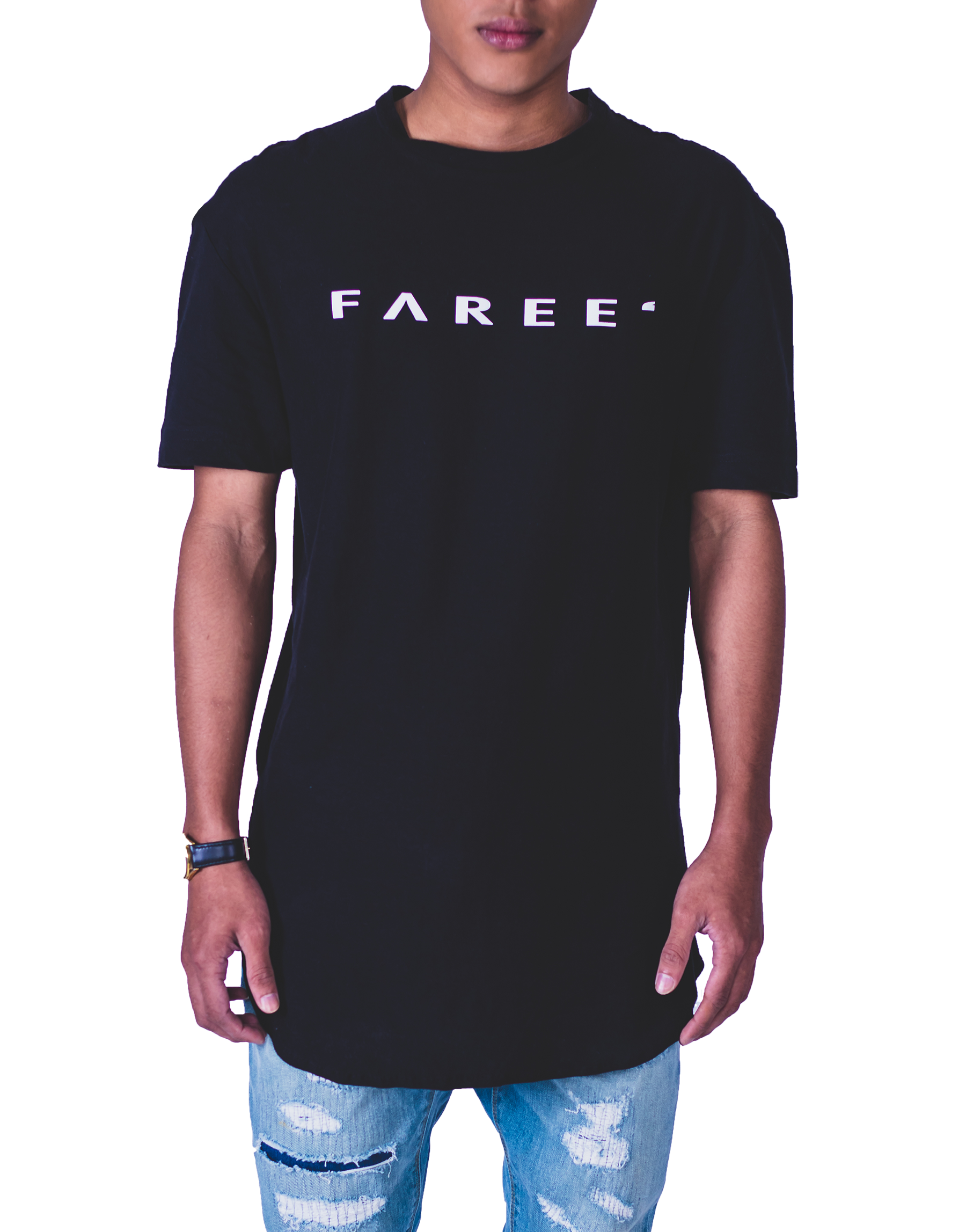 Faree' Homme Longline Printed Logo T-Shirt in Black