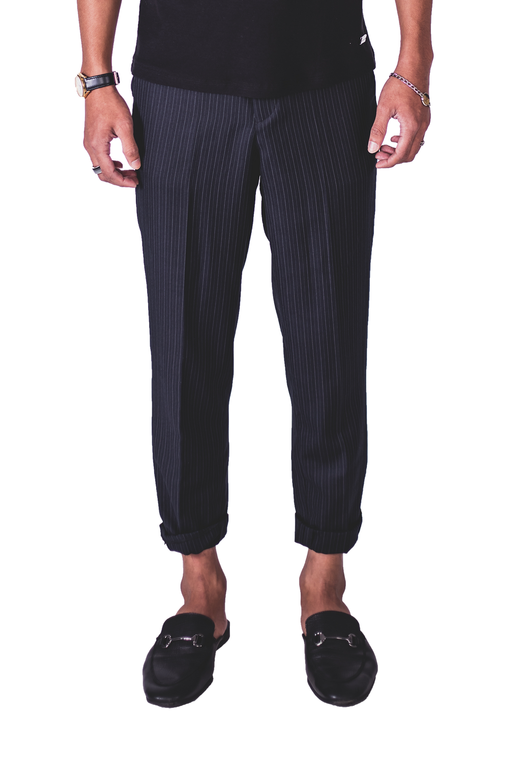 Faree' Homme Cashmere Cropped Oversized Pinstripe Smart Pants in Charcoal
