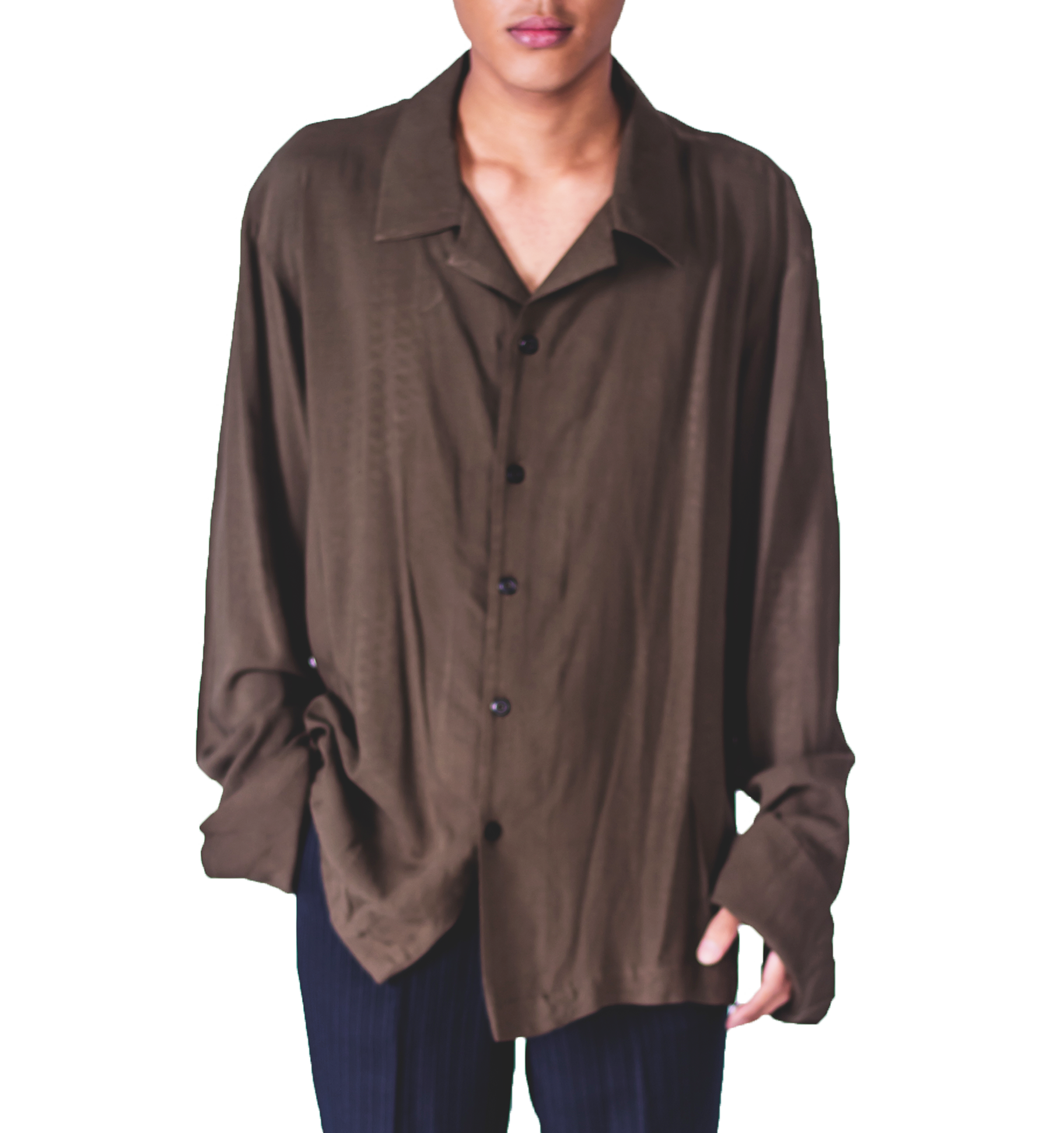 Faree' Homme Oversize Collar Shirt in Olive