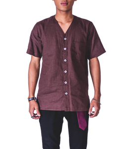 Faree' Homme Linen Baseball Shirt in Brown