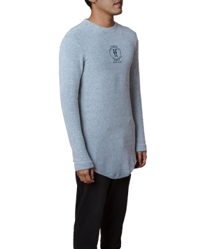 Héritage Homme Long Sleeve Longline T-shirt with Embroidery Logo in Grey