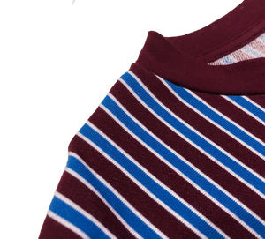 Héritage Homme Multi Stripes Oversized T-shirt with Embroidered Logo in Maroon