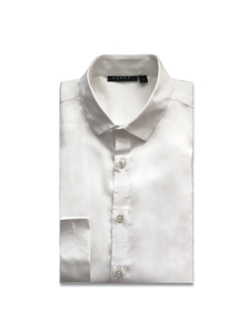 Homme White Double Cuff Slim Fit Cotton Shirt