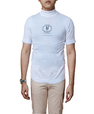 Héritage Homme Knitted Short Sleeve Turtleneck T-shirt with Embroidered Logo in White