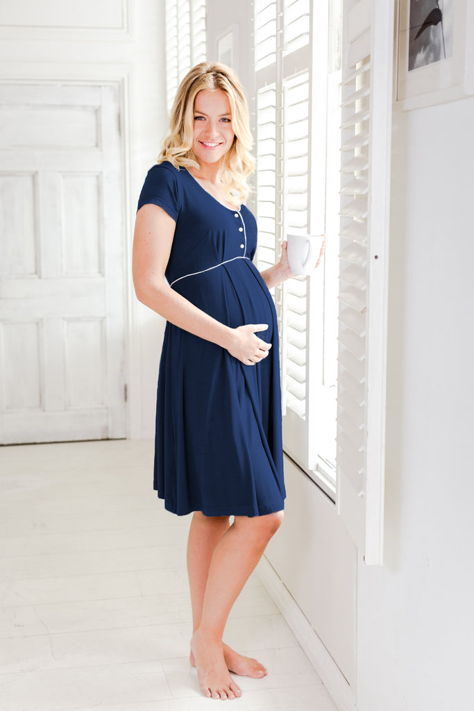 Willa maternity nightdress navy Bumpkyn London