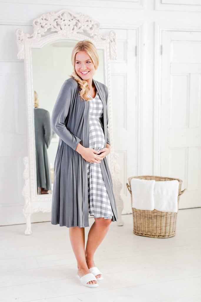 Horatia - Luxury maternity dressing gown and Alix - maternity nightdress