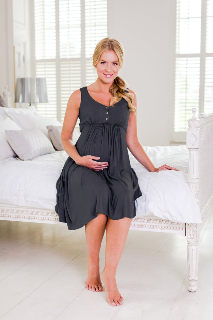 Paloma maternity nightdress Ash Grey Bumpkyn London