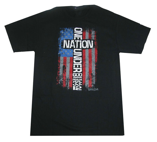 One Nation Under God Cross Flag Tee Shirt