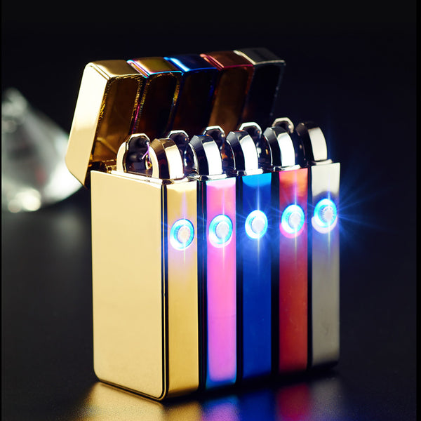 Dual Arc USB Electronic Rechargeable Lighters Cross Flameless Windproof Lighter