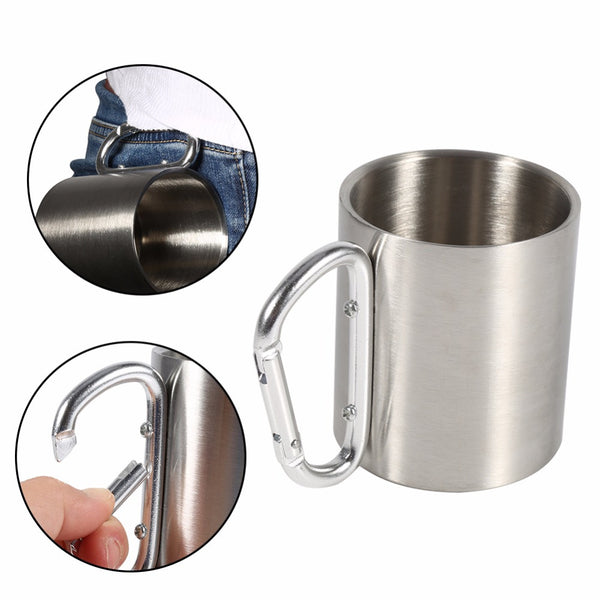 8 Oz Stainless Steel Portable Camping and Travel Mug With Carabiner Clip Handle