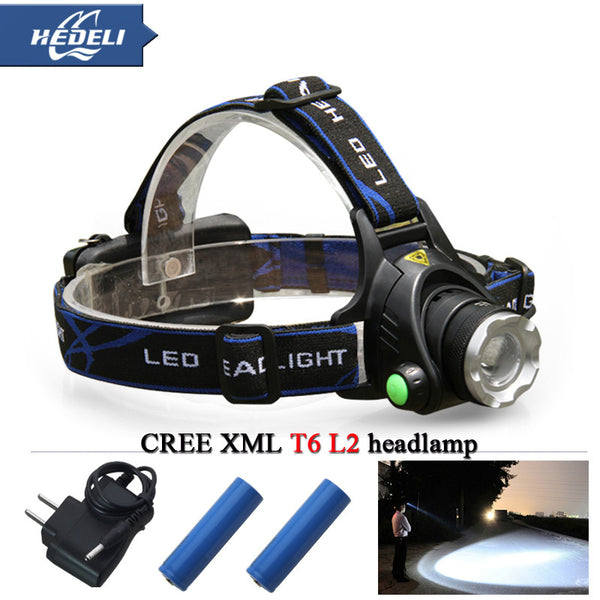 Headlight Cree LED headlamp waterproof with zoom and rechargeable battery flashlight