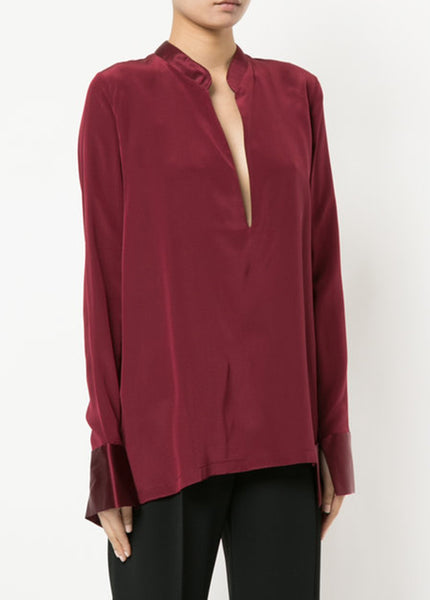 Tapered Deep V Long Sleeve Blouse