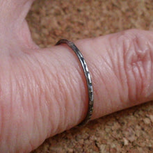 Slim Delicate Thin Stacking Ring Oxidized and Textured In Sterling Silver