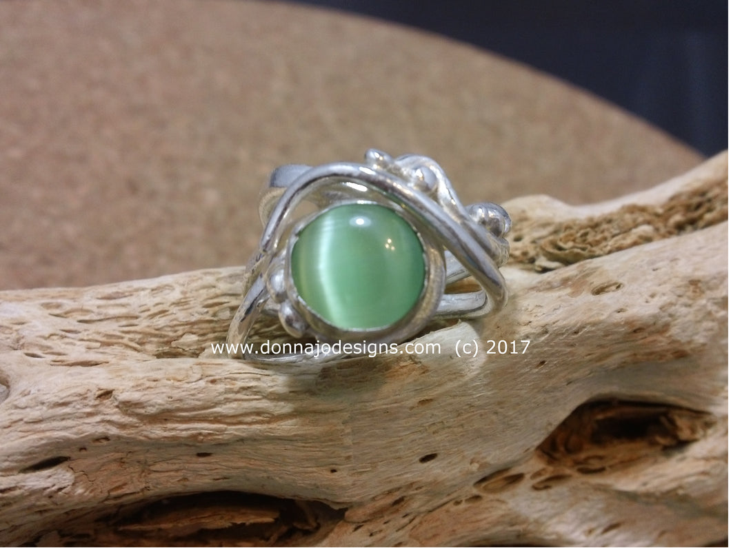 Fine Silver Green Cats Eye Gemstone Ring 8.5 US Free form Wide Band
