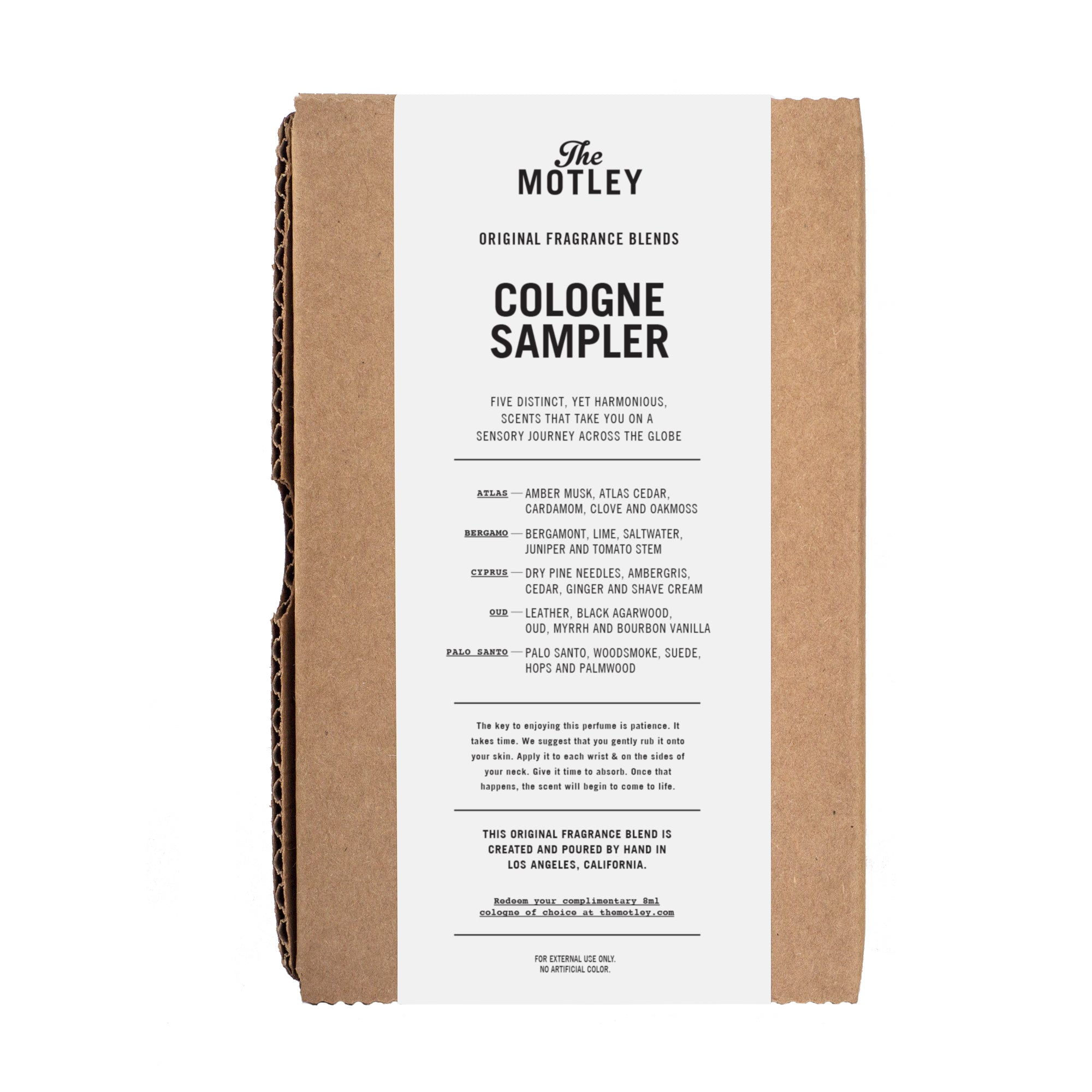 The Motley Cologne Sampler + Certificate - The Motley