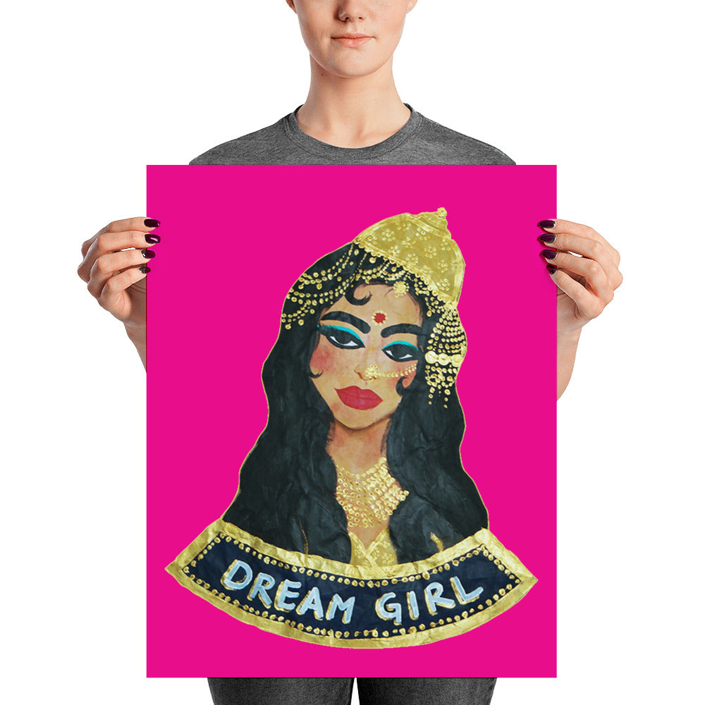 Dream Girl (Black, Pink) Poster - Babbuthepainter