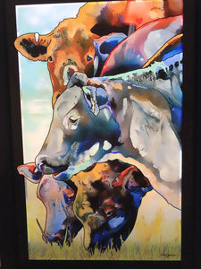 Custom Stain Glass Cattle Grazing Picture