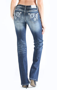 Aztec-Detail Easy Fit Bootcut Jeans