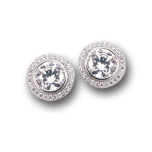 Bezel Set Pave` Earrings w/Post Backs