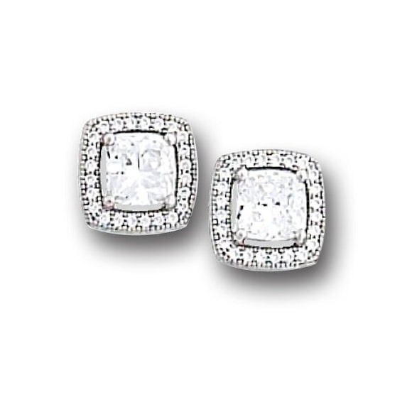 Square Bezel Set Pave' Earrings w/Post Backs