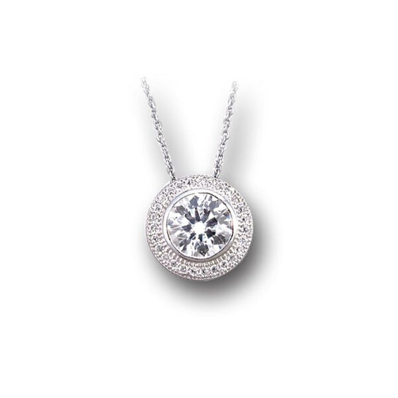 Round Bezel Set Pave` Necklace