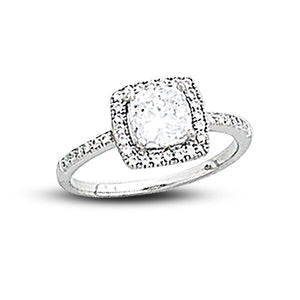 Square Bezel Set Pave` Ring