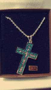 Inlaid Crushed Turquoise and Silver Cross
