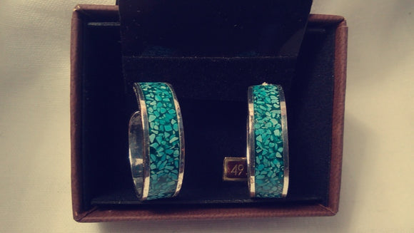 Inlaid Crushed Turquoise Silver Hoops