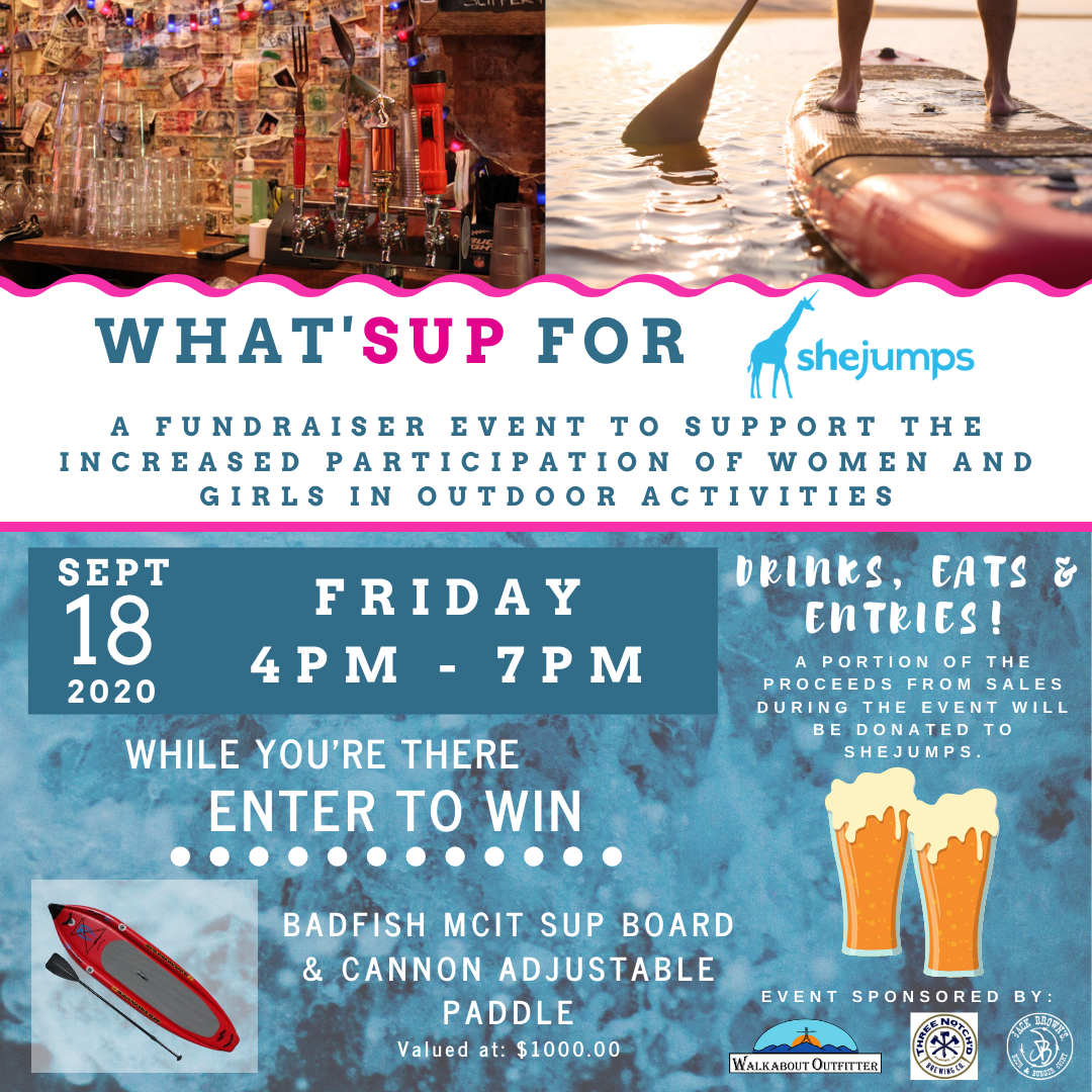 What'SUP for SHEJUMPS Fundraiser Events - Friday, September 18th (4p-7p)