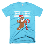 Gingerbread Man Christmas sweater t-shirt - BLUE / AQUA
