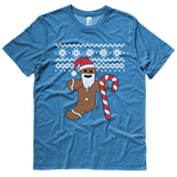 Gingerbread Man Christmas sweater t-shirt - BLUE