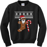Gingerbread Man Christmas sweater t-shirt - BLACK