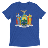 New York flag t-shirt | Coat of Arms of New York tee - BLUE