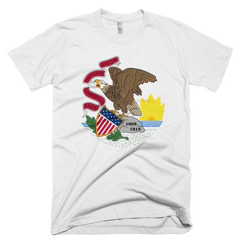 Illinois Flag and Seal t-shirt - Great Seal of the State of Illinois tee - WHITE