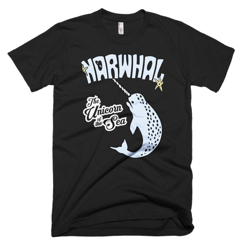 Narwhal t-shirt | The Unicorn of the Sea tee - BLACK