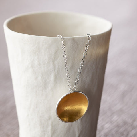 silver gold keum boo pendant at Joanne Tinley Jewellery