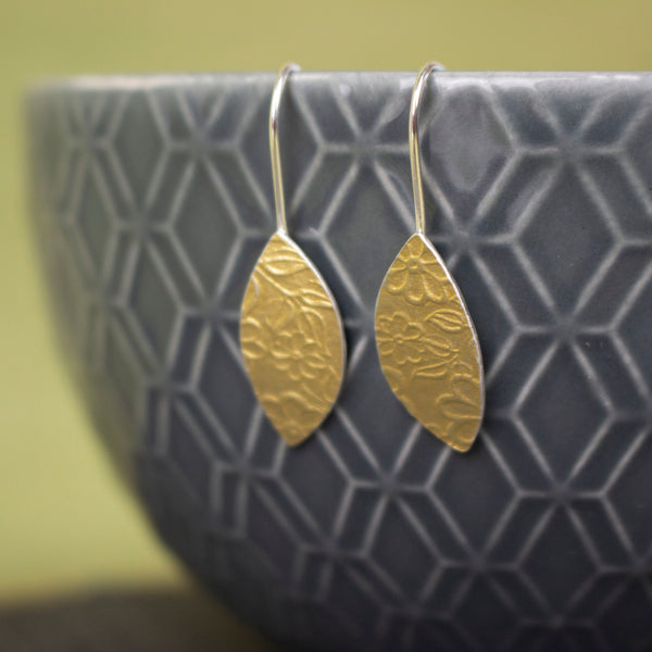 24k gold and silver flower patterned petal shaped drop earrings by Joanne Tinley Jewellery