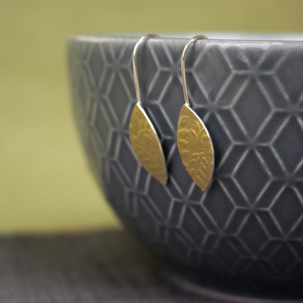 24k gold and silver leaf patterned petal shaped drop earrings by Joanne Tinley Jewellery