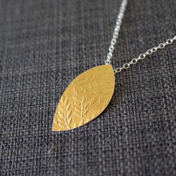 Golden Watercolour Leaf Petal Pendant