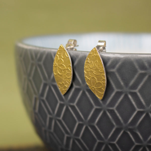 24k gold and silver flower patterned petal shaped stud earrings by Joanne Tinley Jewellery