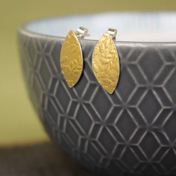 24k gold and silver leaf patterned petal shaped stud earrings by Joanne Tinley Jewellery