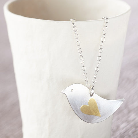 silver gold keum boo lovebird pendant at Joanne Tinley Jewellery