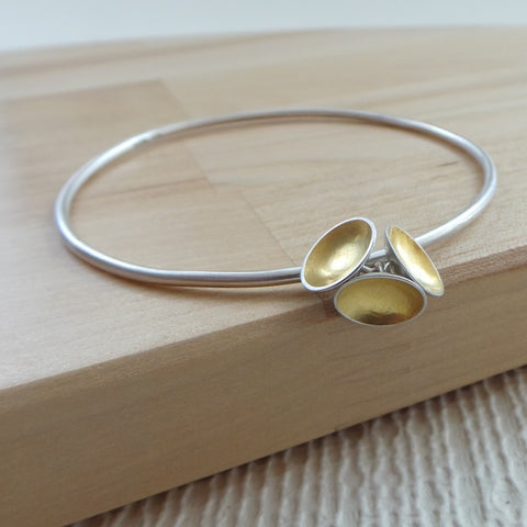 silver and 24k gold keum boo bangle at Joanne Tinley Jewellery